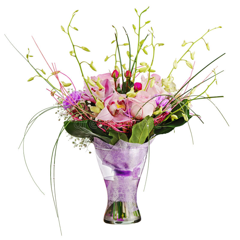 Download Colorful Flower Bouquet In Vase Isolated On White Background. Royalty Free Stock Image - Image: 34536056