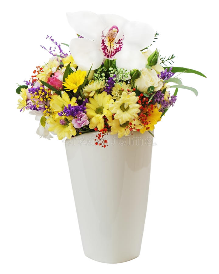 Download Colorful Flower Bouquet In Vase Isolated On White Background. Stock Photo - Image: 35085042