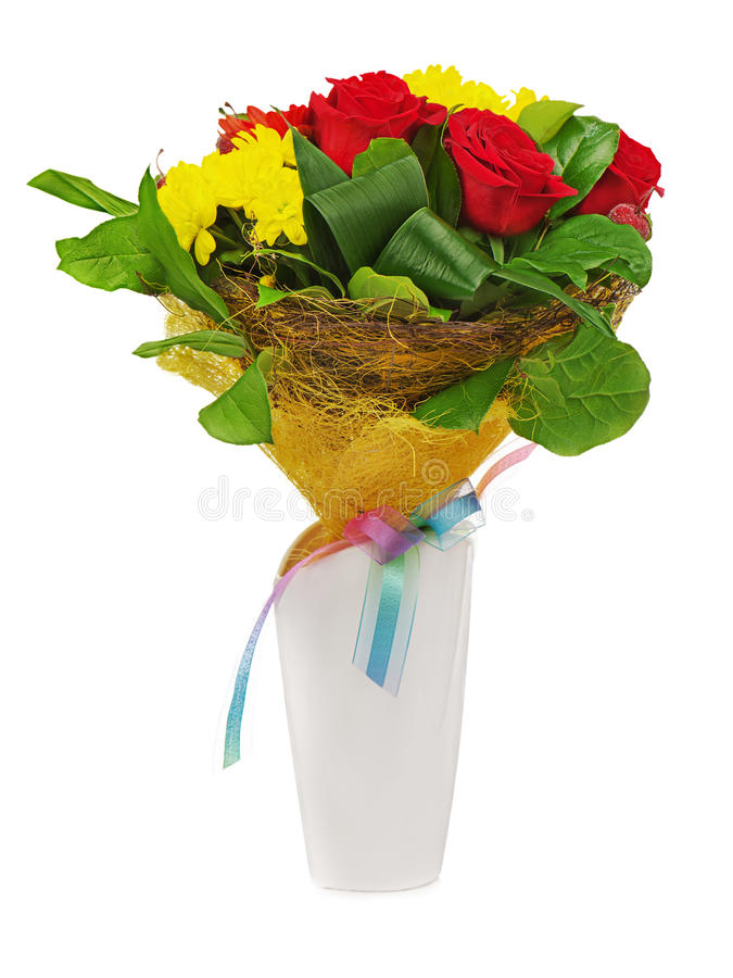 Download Colorful Flower Bouquet In White Vase Isolated Stock Image - Image: 29839653