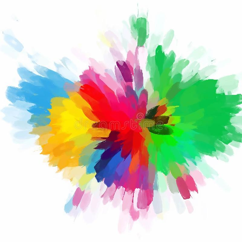 Watercolor Flowers And Paint Brushes: Colorful Flower Brush Strokes Stock Vector