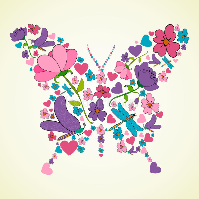 Beautiful Spring Flowers Butterfly Shape Stock Vector