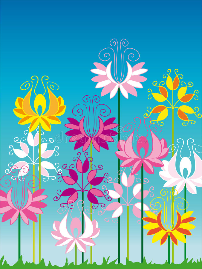 Download Colorful flower garden stock illustration. Image of butterfly - 8329211