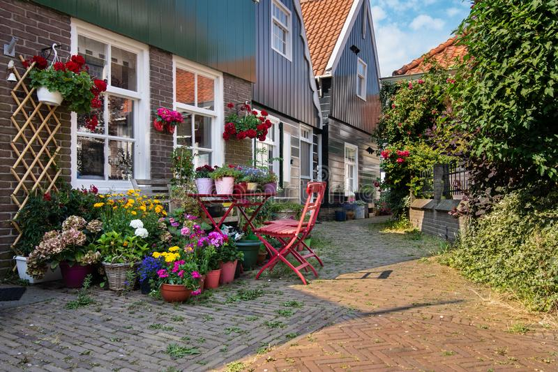 Colorful flower garden on a street in Edam, Netherlands, Europe royalty free stock images