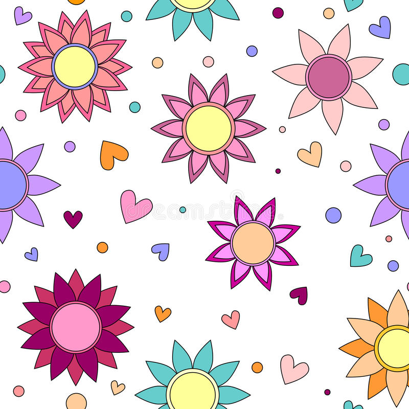 Download Colorful Flower, Heart And Dot Texture Stock Illustration - Image: 22831622