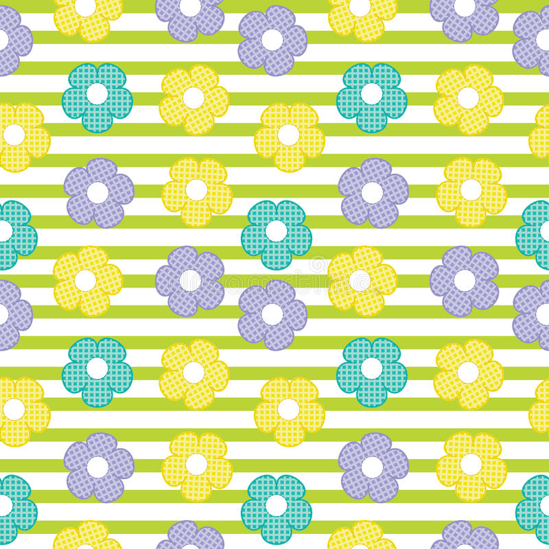 Colorful flower seamless pattern on striped background for baby clothes background stock photo