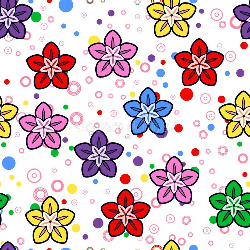 Colorful flower seamless pattern on white background. Paper print design. Abstract retro vector illustration. Trendy textile,. Fabric, wrapping. Modern space stock illustration