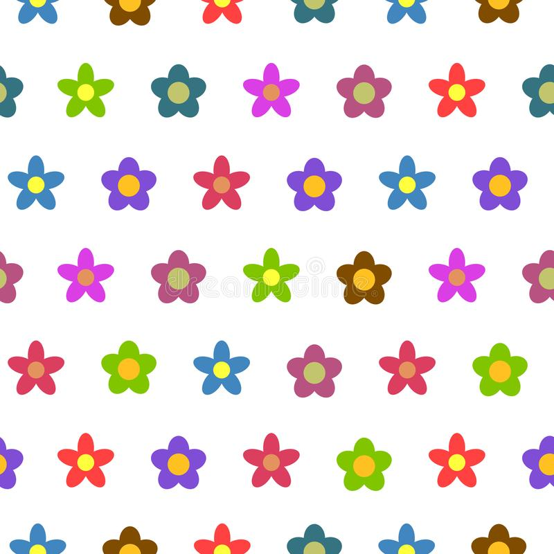 Colorful Flower Seamless Vector Background stock illustration