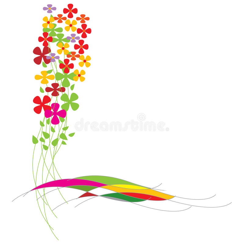 Colorful Flowers. And extra white area to add text or other images. can be used as border - illustrated art work royalty free illustration