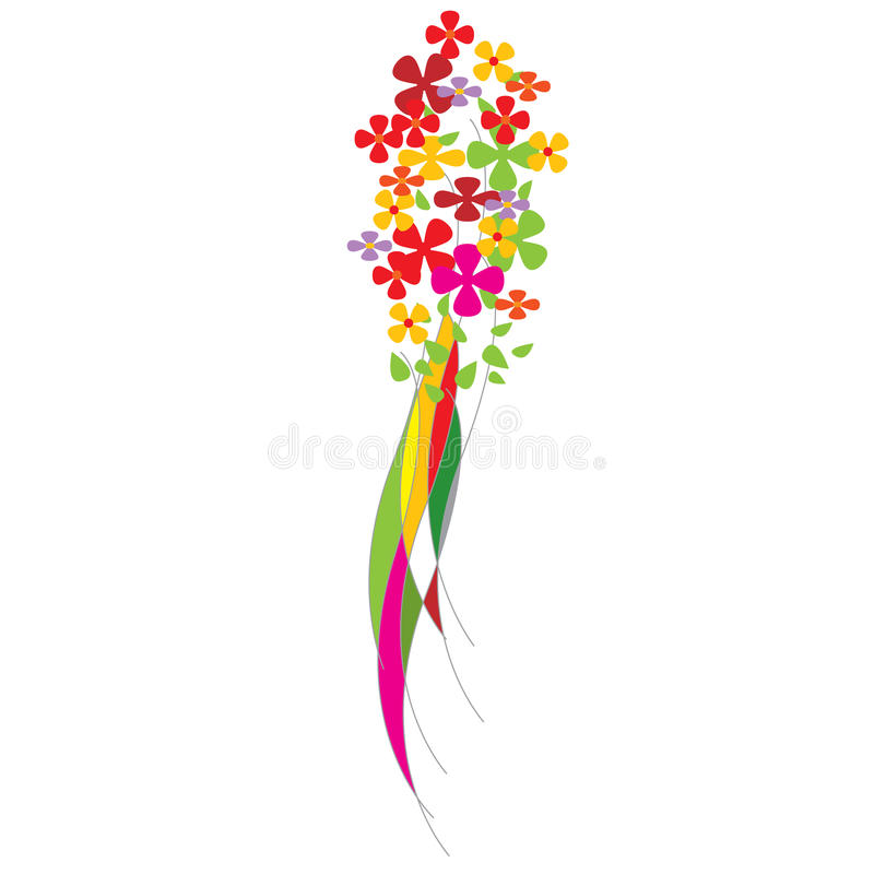 Colorful Flowers. And extra white area to add text or other images - illustrated art work royalty free illustration