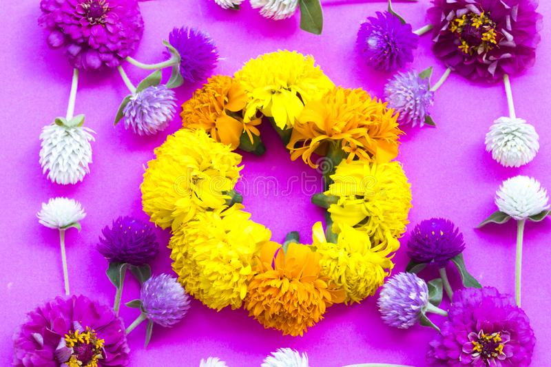 Colorful flowers amaranth purple white and pink color with marigold yellow ,orange color ,pink zinnia  local flora of asia. Arrangement flat lay postcard style royalty free stock images