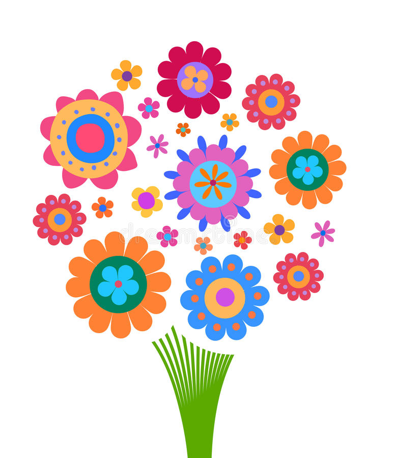 Colorful flowers arrangement in the form of a bouquet stock illustration