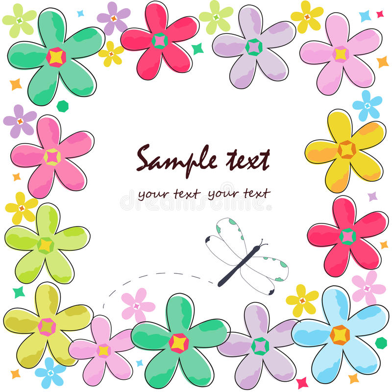 Colorful flowers border greeting card vector stock illustration