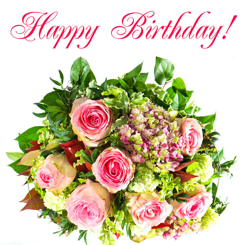 Colorful flowers bouquet. Happy birthday! card concept stock photos