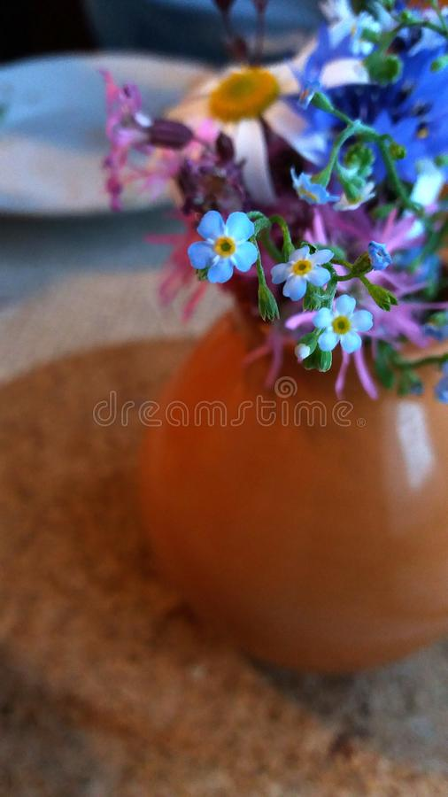 Colorful flowers in a bulky brown bottle stock images