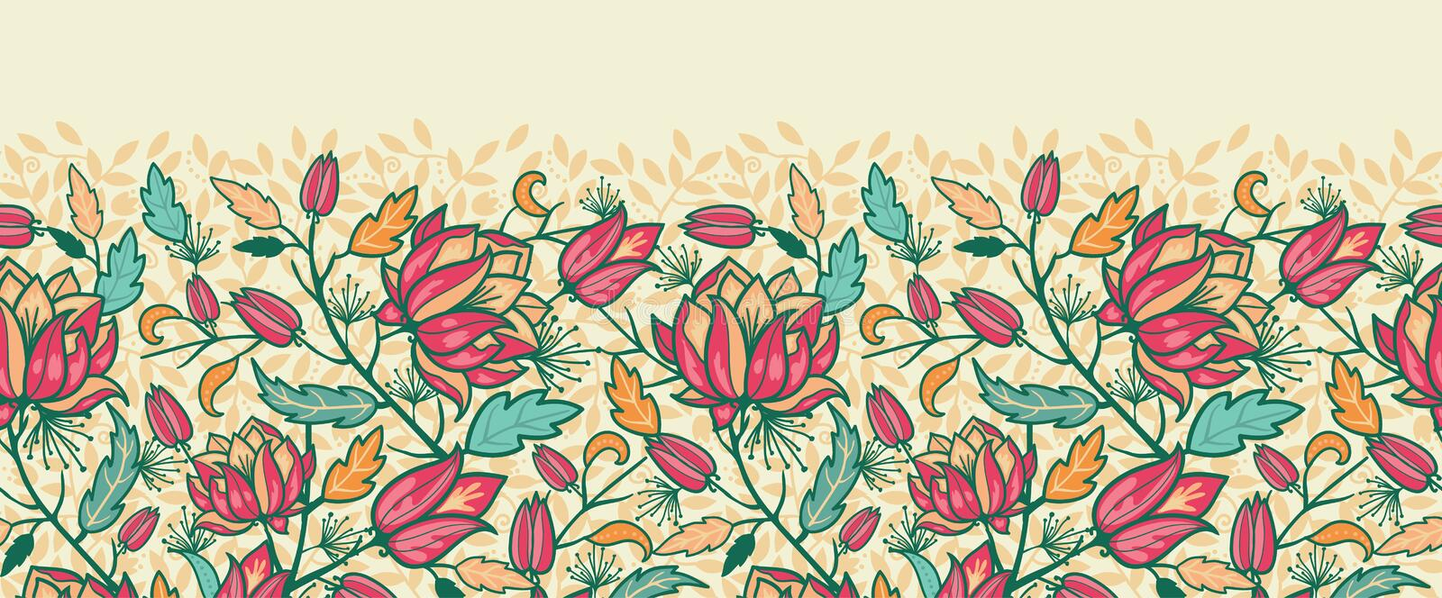 Colorful flowers and leaves horizontal seamless