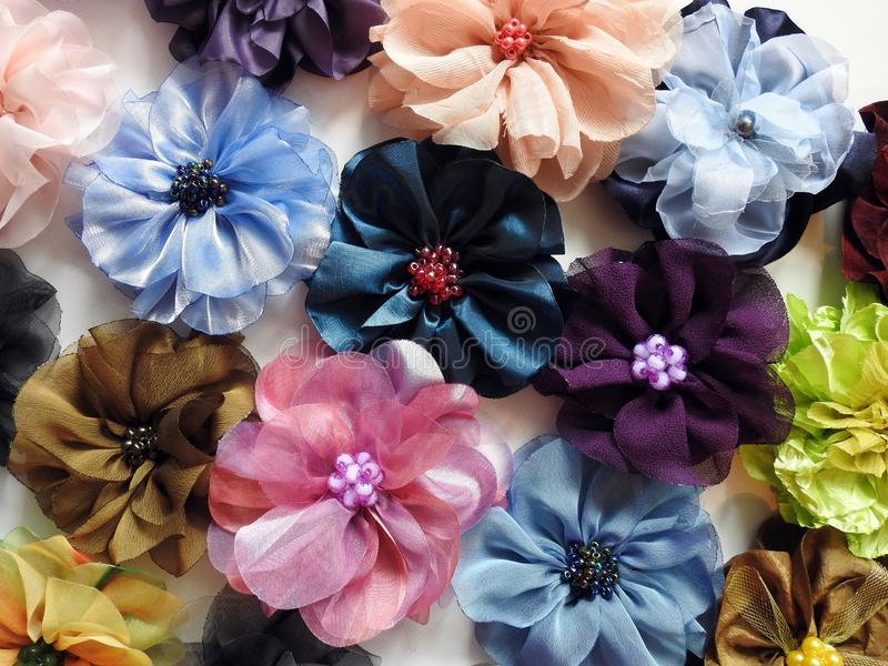 Colorful flowers made from different colors fabric, Lithuania royalty free stock images
