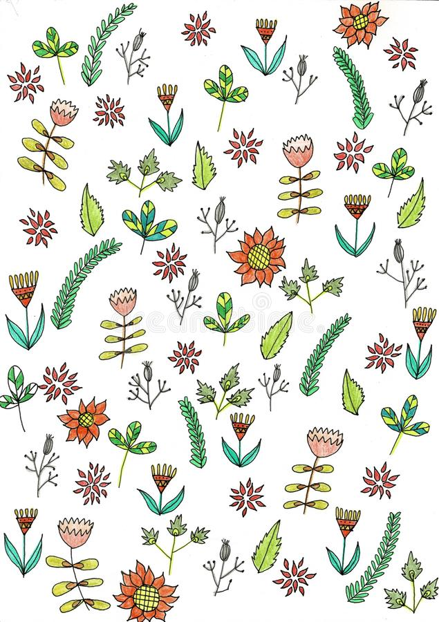 Colorful Flowers Pattern and small flowers royalty free illustration