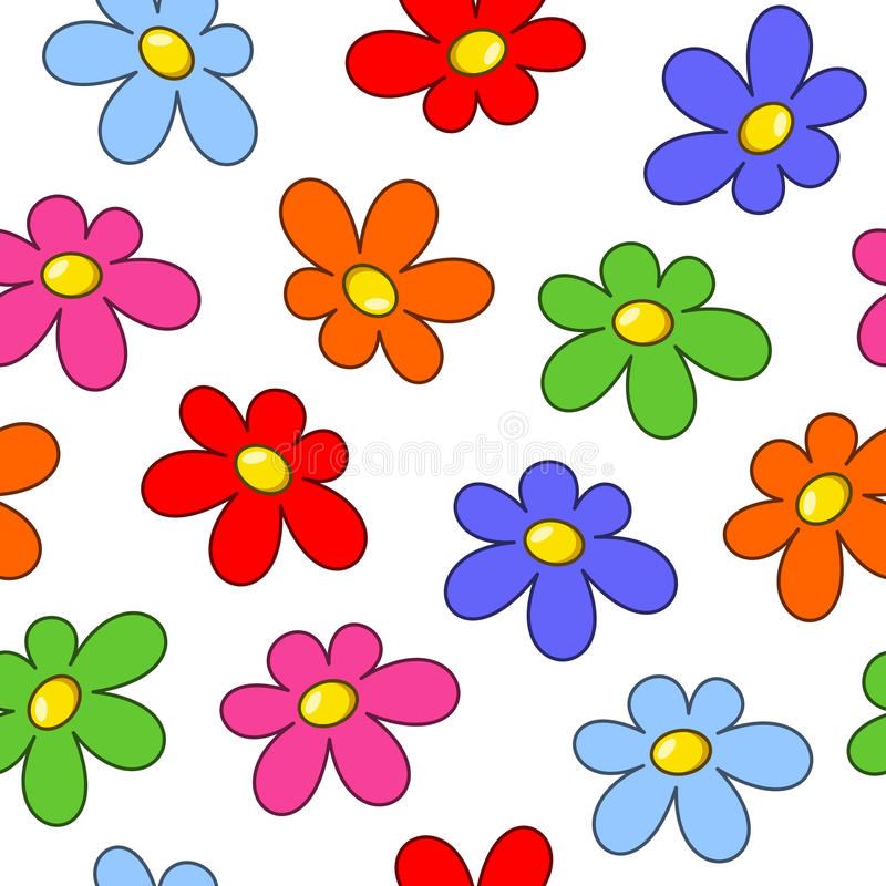 Colorful Flowers Seamless Pattern royalty free illustration