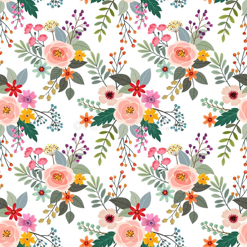 Colorful flowers seamless pattern fabric textile. Colorful flowers seamless pattern fabric textile, wallpaper, background vector illustration