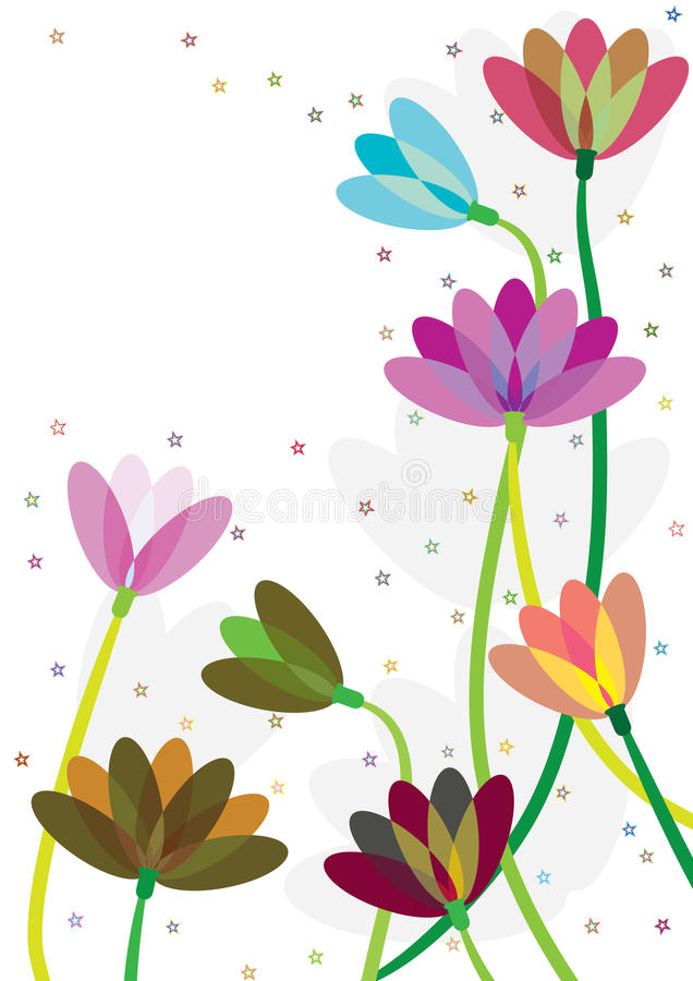 Colorful Flowers Stars Blowing_eps. Illustration of colorful flowers and stars blowing on white background. --- This .eps file info Document: A4 Paper Size stock illustration