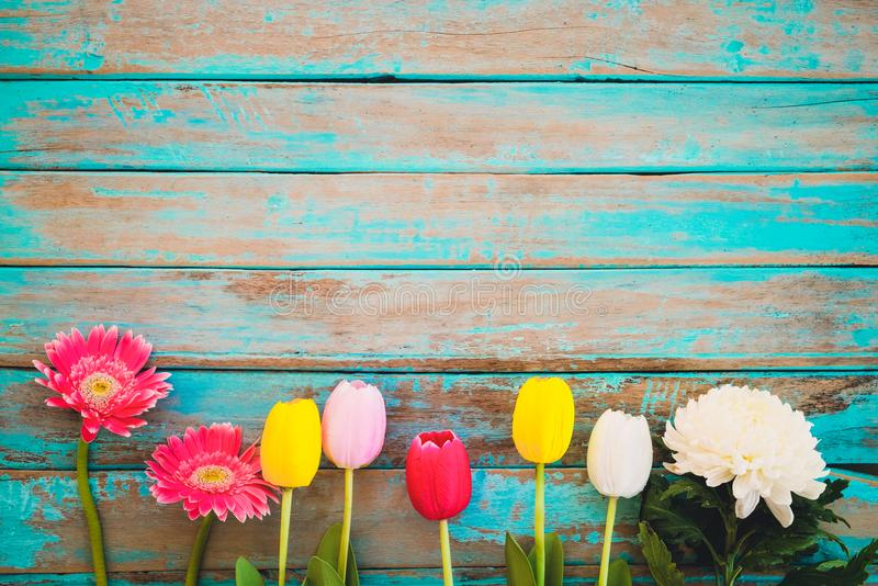 Colorful Flowers On Vintage Wooden Background Stock Photo Image - Best of flower powerpoint background concept