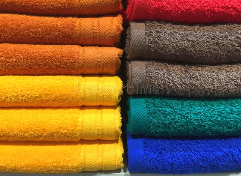 Colorful Fluffy Folded Towels Texture royalty free stock photos