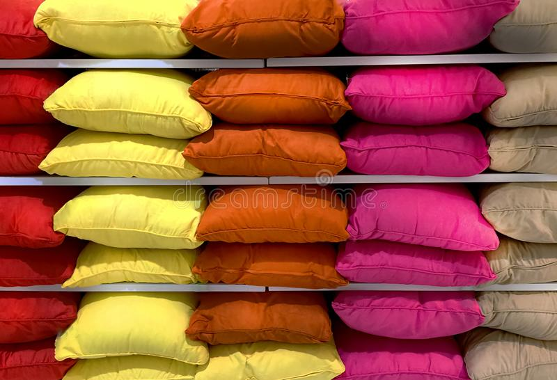 Colorful Fluffy Pillows stock photo