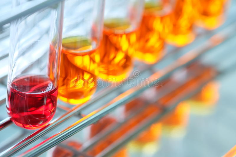 Colorful fluid in glass ware. For laboratory royalty free stock photo