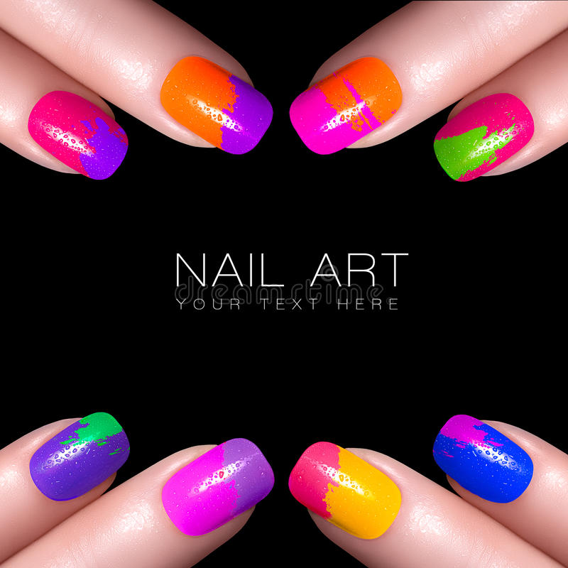 Nail Art Trend Luxury Nail Polish Nail Stickers Stock: Colorful Fluor Nail Polish. Art Nail With Example Text
