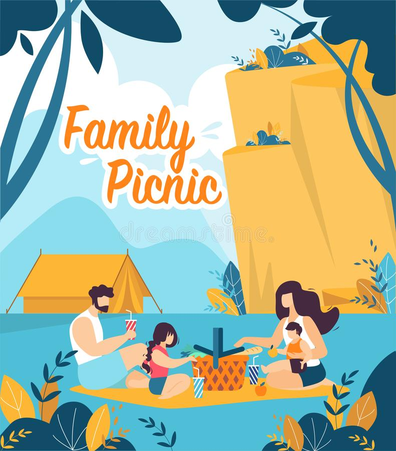 Colorful Flyer is Written Family Picnic Cartoon. Parents with Children Sit on Picnic Mat against Mountains. Banner Hiking in Mountains and Family Dinner stock illustration