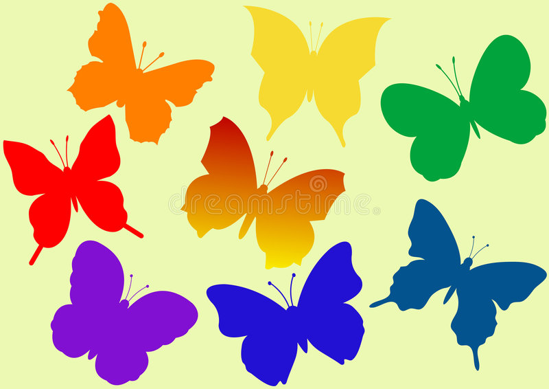 Colorful flying butterflies vector illustration royalty free illustration