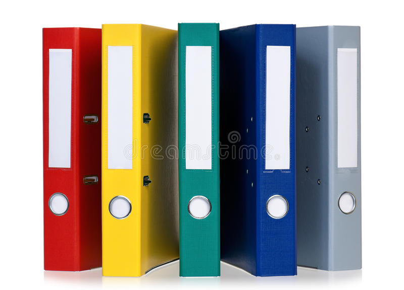 Colorful folders. Colorful file folders, isolated on white background royalty free stock photos
