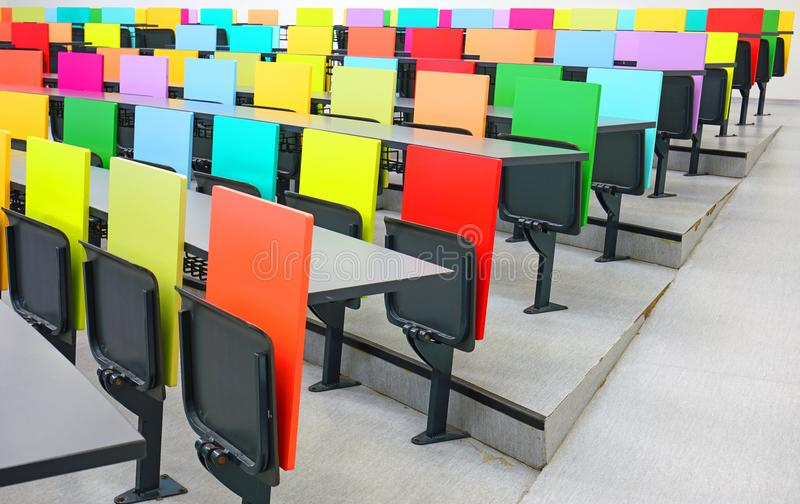 Download Colorful Folding Chairs In A Modern Classroom Stock Image   Image  Of Classroom, Hall