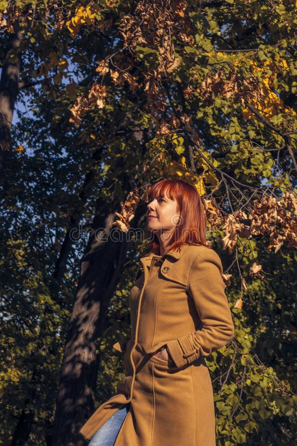 Colorful foliage in the park. Falling leaves natural background. Happy red hair woman in nature stock image