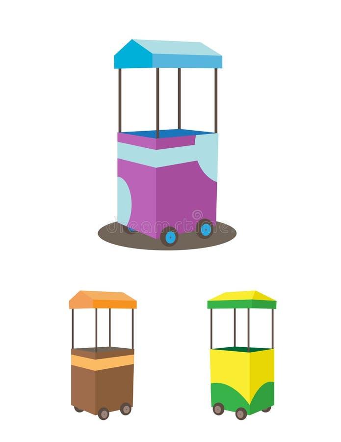 Colorful food cart stall mock up design. Kiosk icon set. stock illustration