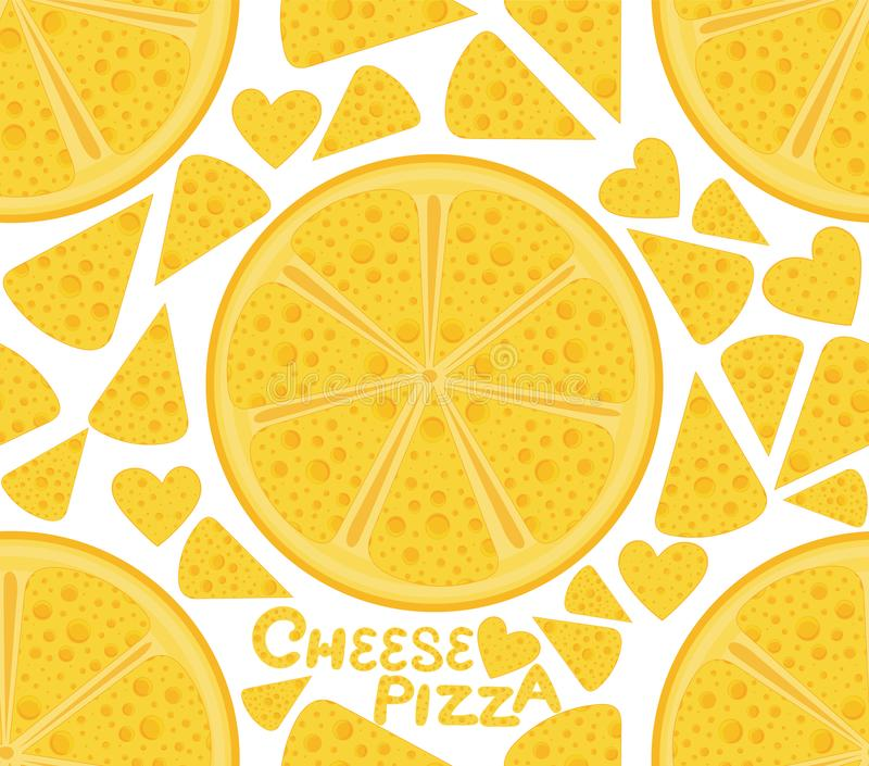 Colorful food and drink vector seamless pattern with pizzas and handwritten words `cheese pizza` royalty free illustration