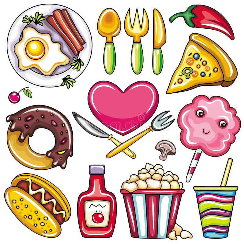 Colorful Food icons 2. Set of ready-to-eat food icons isolated on white background. part 2 royalty free illustration