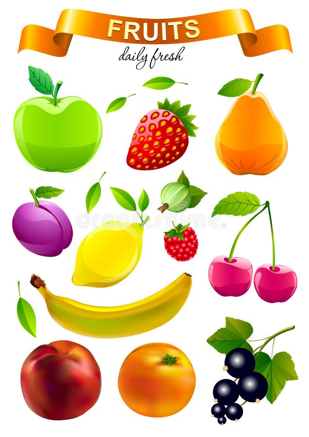 Colorful food market objects collection vector illustration
