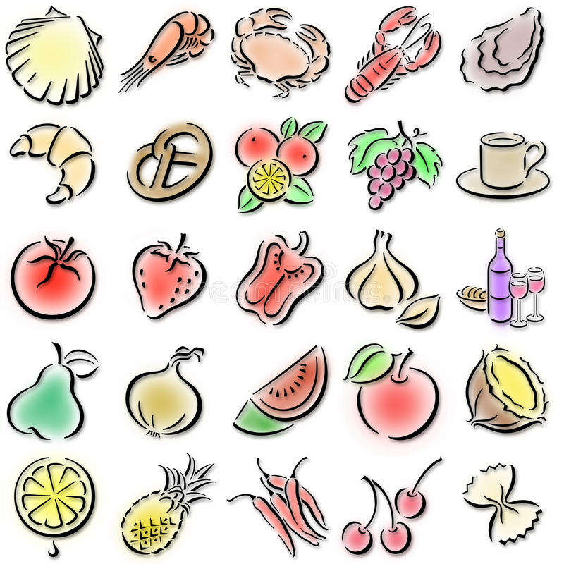 Colorful food symbols. Collection of colorful food symbols stock illustration