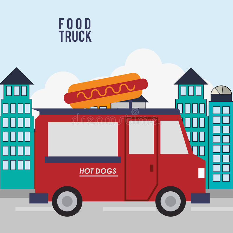 Colorful food truck design. Hot dog food truck icon. Urban american culture menu and consume theme. Colorful design. Vector illustration royalty free illustration