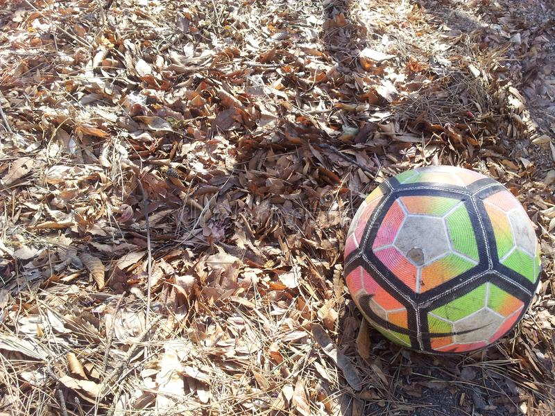 Colorful football or soccer ball on ground royalty free stock photography