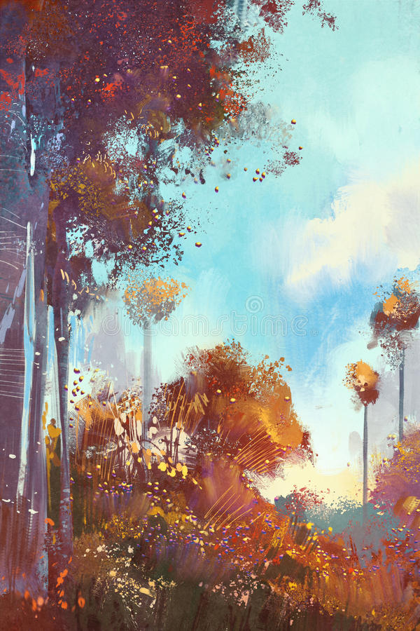 Colorful forest with plants and flowers. Illustration digital painting stock illustration