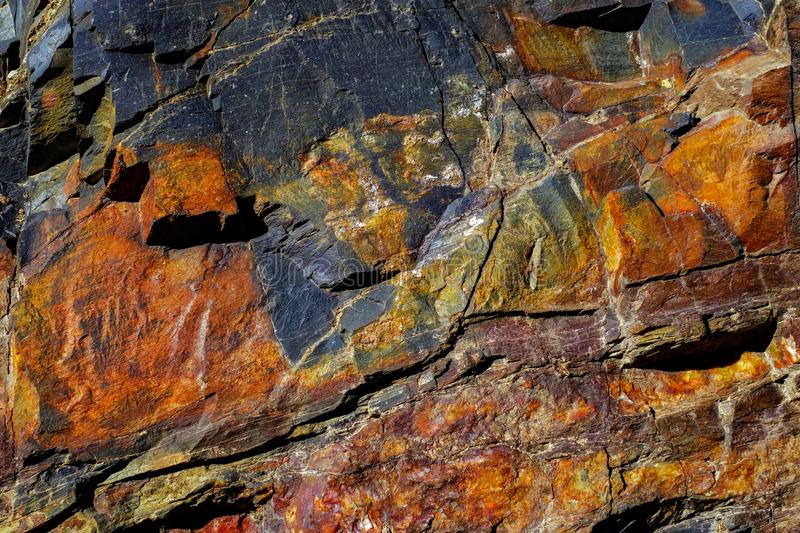 Colorful formations of rocks stacked over the hundreds of years. Close view stock photography