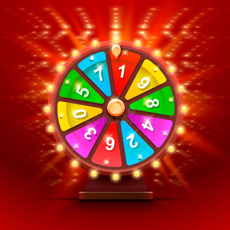 Colorful fortune wheel. Isolated background. Colorful fortune wheel. Isolated on red background . Vector illustration royalty free illustration