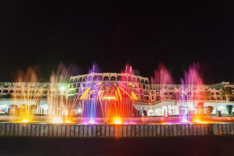 The colorful of fountain on the lake at night. Egypt. Hurghada. stock image