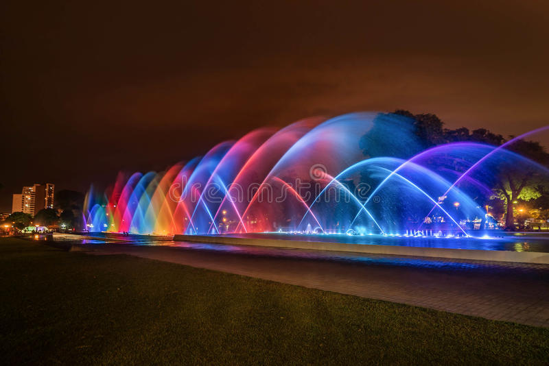 Colorful Fountain at night in the Park of the Reserve in Lima, P stock images