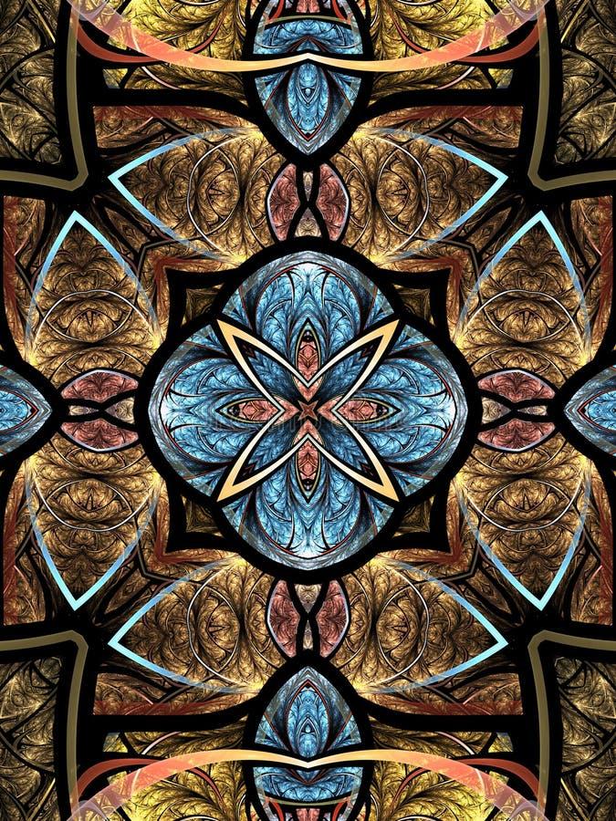 Colorful fractal mandala. Digital artwork for creative graphic design royalty free illustration