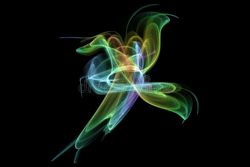 Colorful fractal in shape of butterfly stock photography