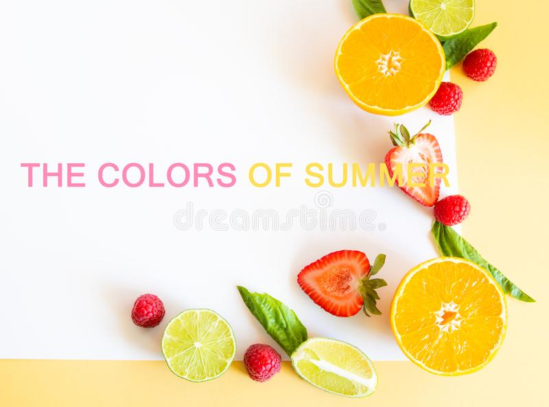 Colorful frame border or edge of fresh summer fruits with copy stock photos