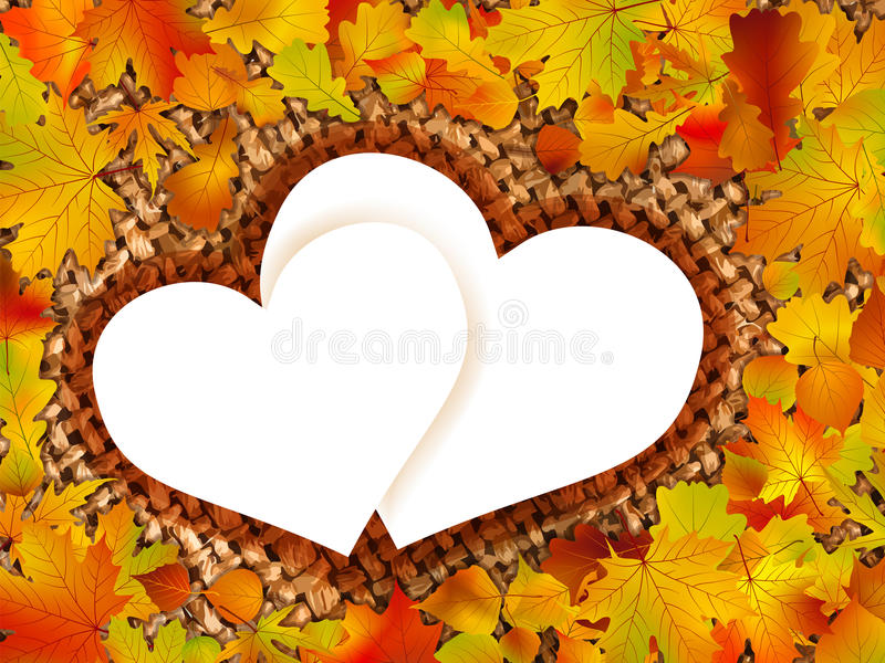Colorful frame of fallen autumn leaves. royalty free stock photography